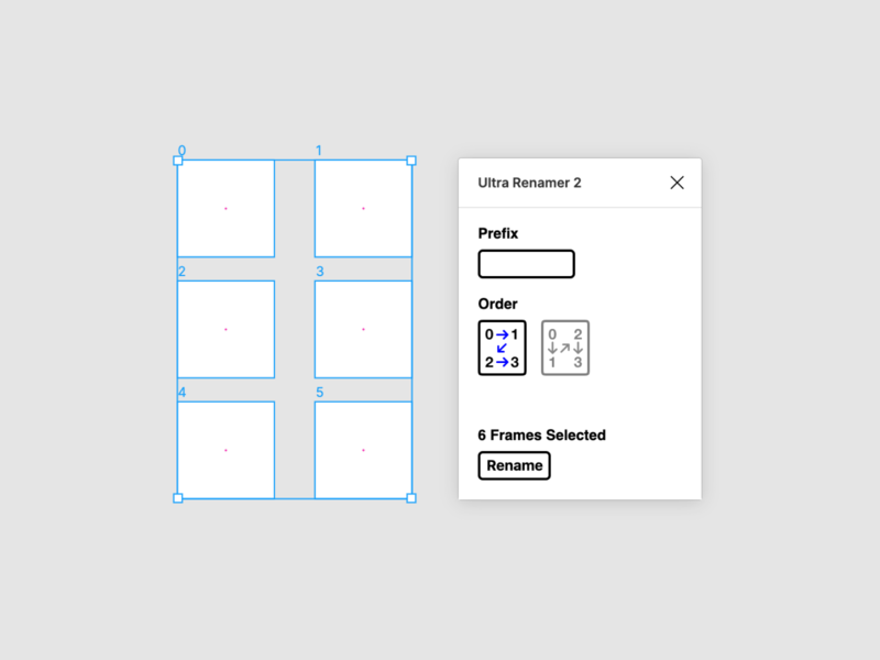 Ultra Renamer 2 for Figma clean white black blue color typography app ui ux