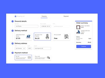 Shopping process UI flat minimal web application design website web ux ui