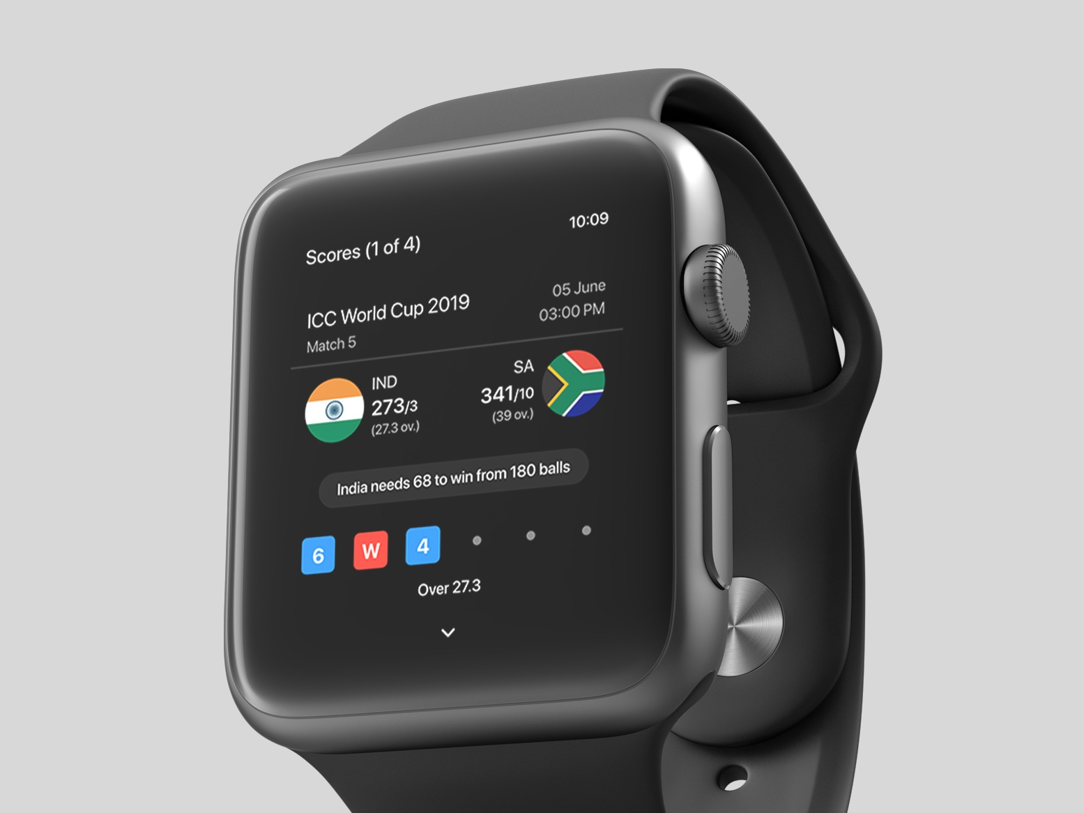 Cricket Scores - Watch Concept apple live match scores cricket wearables wearable apple watch watch app ux ui design