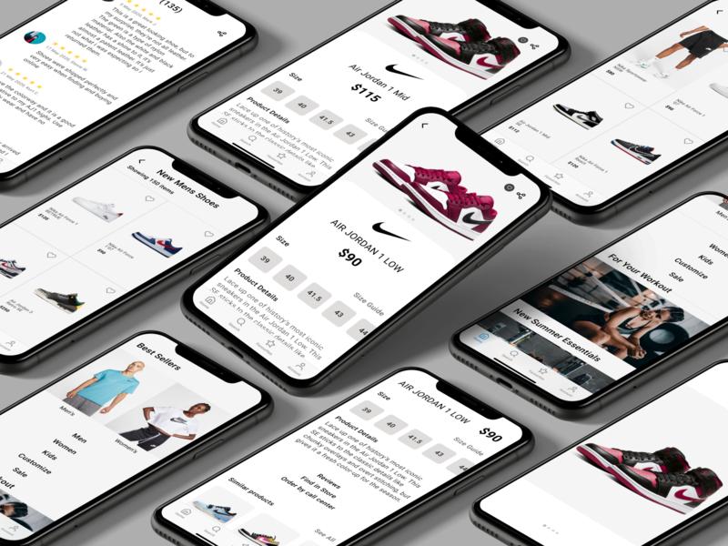Nike Shop Re-Design uiuxdesigner uiux 2020 nike air max nike air nike shoes nikeapp nike branding figmadesign colors uidesign ios figma app ui design