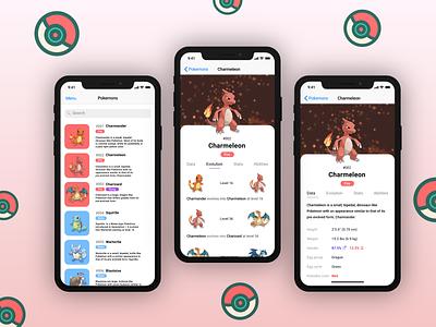 Pokemania App Screens pokemania pokedex pokemonapp vector figmadesign 2020 adobe ios figma colors uidesign app ui design