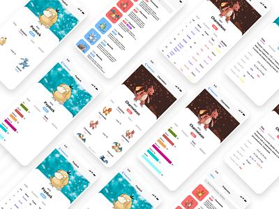 Pokemania App Screens pokemania pokemonapp figmadesign 2020 adobe xd figma colors uidesign app ui design