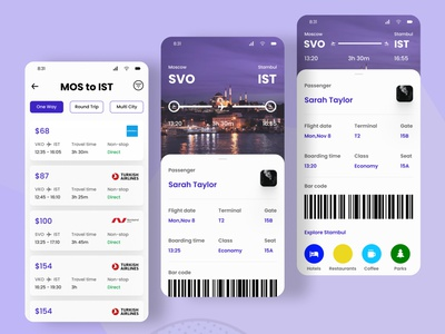 Flight App Screens screen ticketsapp flightapp figmadesign 2020 ios figma colors uidesign app ui design