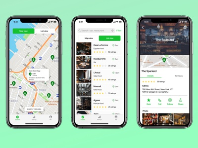 Restaurant and bar finding app screens cafe barfinding barapp cafeapp figmadesign ios colors figma uidesign app ui design