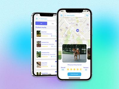 Dog Parks Find App UI Design 2021 map dogparks illustration colors ios figma ui app uidesign design