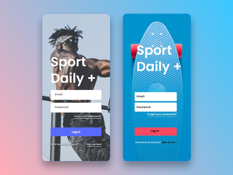 Login Screen design ios fitness vector sportapp start screen login screen signup login signin appdesign app ui figmadesign figma