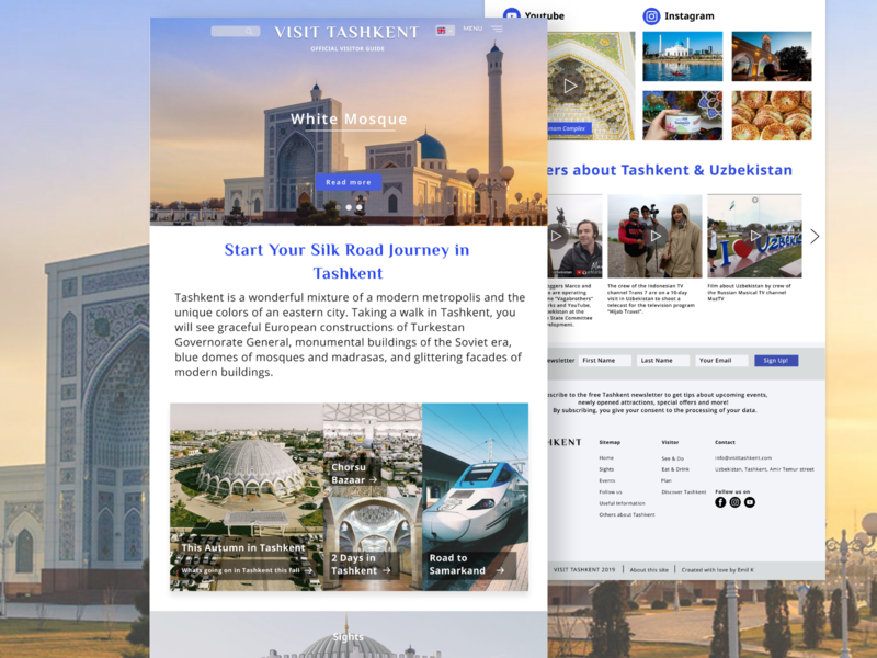 Visit Tashkent website web designs typography citysite city colors travelling travel landing website uzbekistan tashkent uidesign logo page figma design ui
