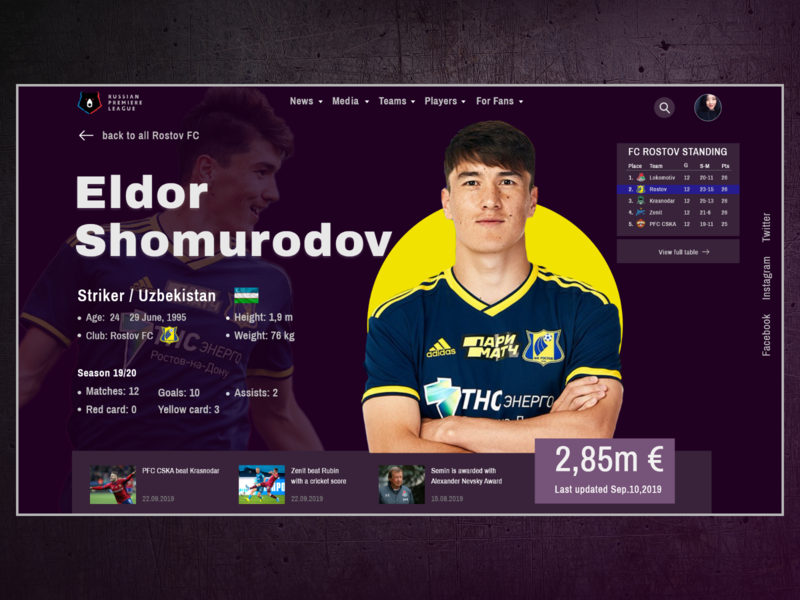 Football Player Profile UI design sport page sport web web page player profile player page football statistic colors vector page adobe adobe xd design ui