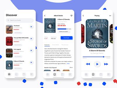 Audio Books App Screens bookshelf colors podcast uiapp reader book covers bookstore audiobook read books uidesign ios adobe app adobe xd design ui