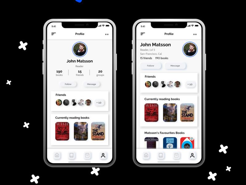 Daily UI: User Profile neumorphism branding color mobile light books reader profile colours userinterface userprofile uidesign ios app design ui