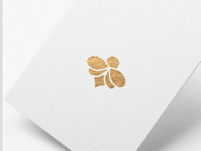 Golden bee logo elegant simple abstract queen logo gold flower insect bee