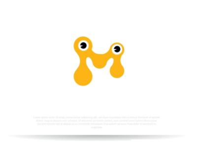 Playful logo design m monogram logo design funny yellow eyes animal