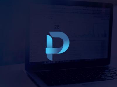 Monogram logo digital monogram blue gradient overlapping logo p letter