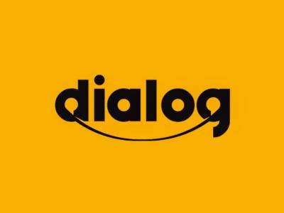 Dialog logo design yellow communication speech balloon chat logo lettering