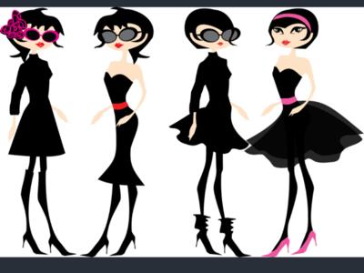 Stylish girls in black