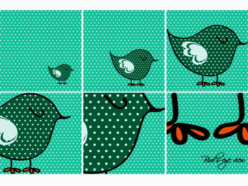 Birds eye view green birds design background