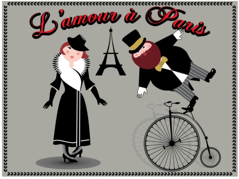 L'amour à Paris bicycle vintage cartoon couple love