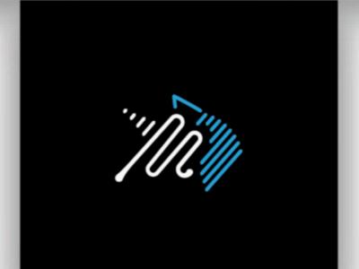 Unicorn+letter M simplicity clean linear logo monogram stripe animal digital unicorn