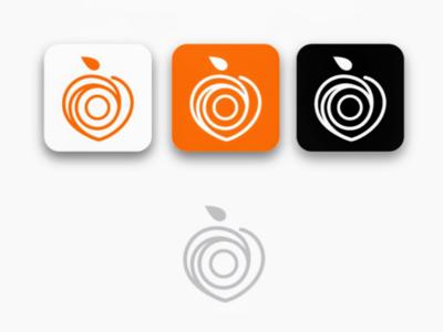 Linear peach logomark pastel orange logo fruits sketch simple line peach linear