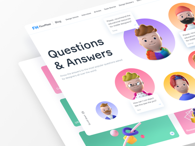 Question and Answers Blog Page for Flow Mapp 3d illustrations tooltips questions and answers promotional design landing page blog avatars cinema4d ux  ui ux webdesign minimalism