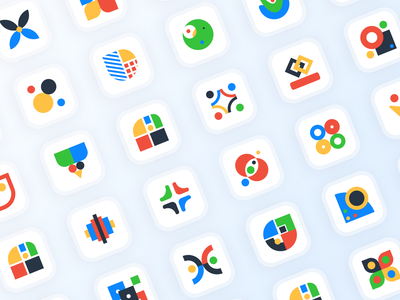 Design Glossary Icon Set for FlowMapp colorful filled icondesign iconography ui abstract icons icons figma glossary design glossary webdesign minimalism