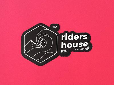 Riders House sticker badge school waterman mountain sea kite surfing snowboarding mountainman trademark lineart typography design creative branding