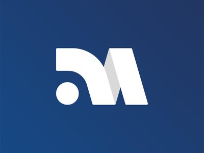 M Monogram Concept monogram letter mark trademark branding design blue and white blue monogram logo typography art monogram m creative