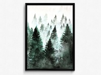 Watercolour painted forest