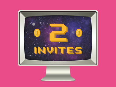 2 Invites (Invite, Invitation) computer retro draft invitation invite