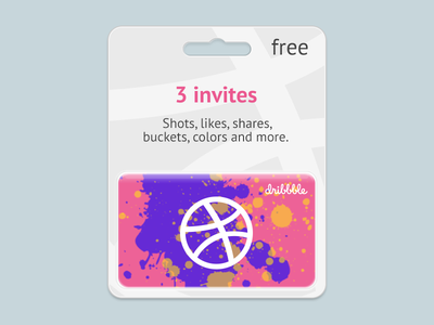 3 Invites (invitations) giftcard blister free gift draft invitation invite