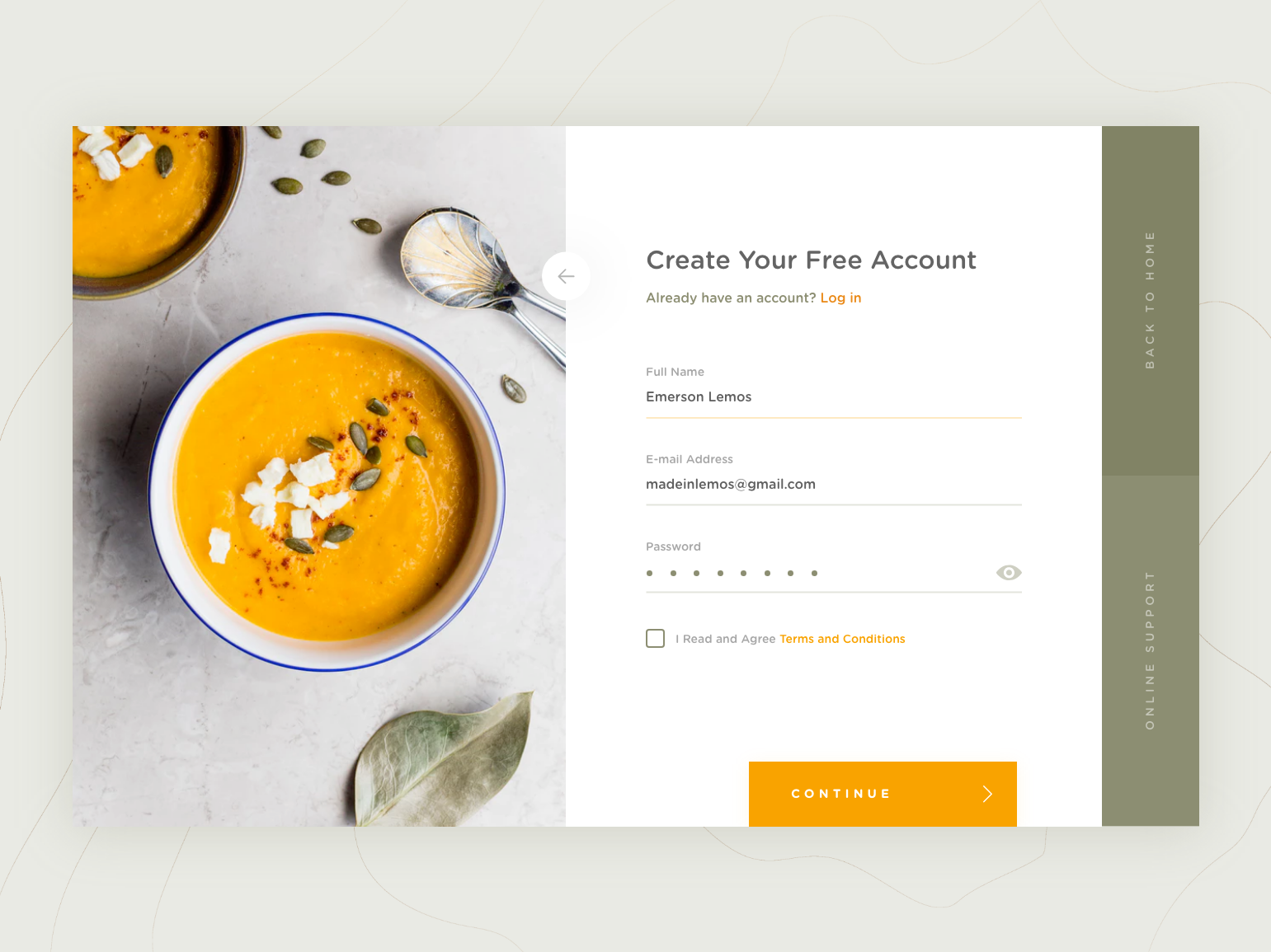 DailyUI #001 Register Page food interface signup account form web design uiux landing page register ui dailyui