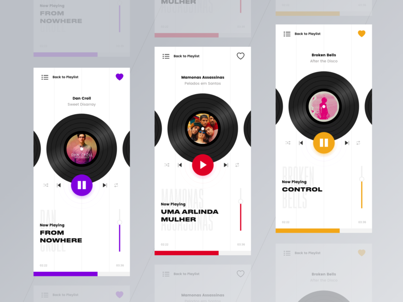 Music Player - Color Variations player music app dailyui mobile ux ui interface design