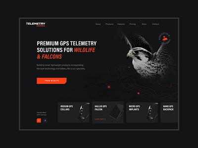 Telemetry Solutions – Website & App design web landing page illustration design falcons gps tracker gps wildlife web design mobile app ux uiux ui webdesign website branding