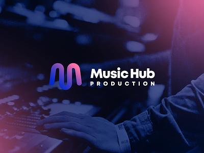 Music Hub Production - logo and branding brand music symbol minimal gradient typography logo vector branding design