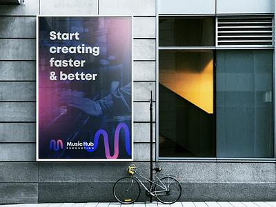 Music Hub Production - logo and branding gradient vector sign billboards billboard music symbol typography logo branding design