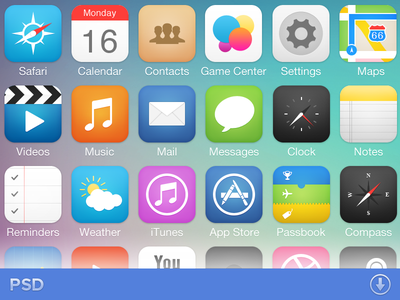 iOS7 Icon Pack ios 7 icons retina pack psd freebie