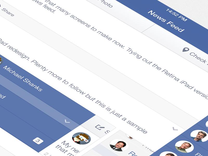 Facebook iOS7 - News Feed (iPad Retina) facebook ipad ios7 retina news feed