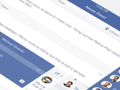 Facebook iOS7 - News Feed (iPad Retina)