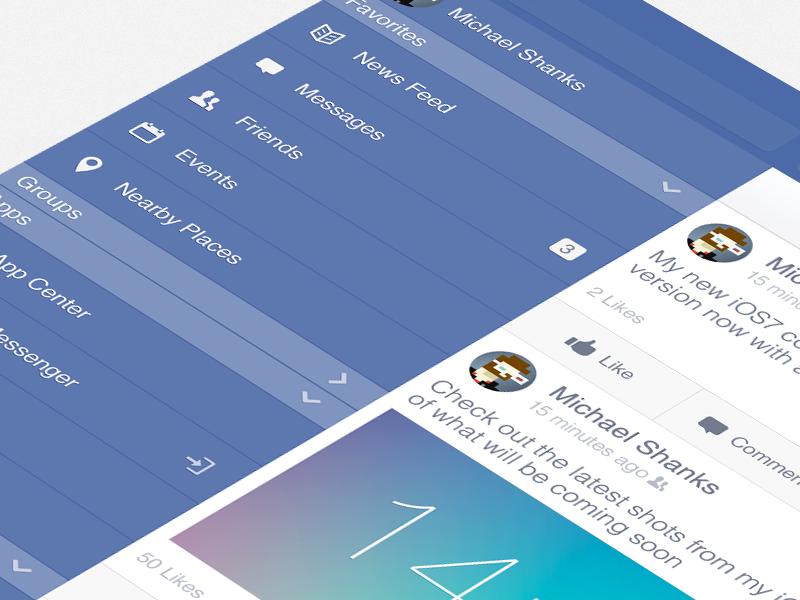 Facebook iOS7 - Options Menu (iPad Retina) facebook ipad ios7 retina options menu