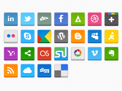 Social Icons 2 google dribbble forrst facebook deviantart twitter linkedin flickr skype buzz wordpress blogger myspace aim yahoo share this last fm stumble upon picasa vimeo evernote rss mobileme digg delicious