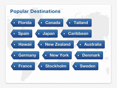 Holiday app   popular destinations