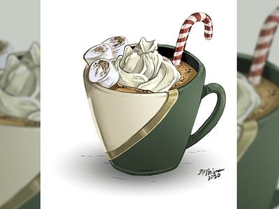 hot cocoa beverage chocolate drawing drink digital illustration illustration