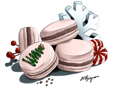Holiday Macarons holiday dessert peppermint macaron illustration