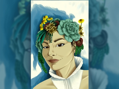 Summer 2019 Self Portrait california flowers plants succulent portrait art digital painting painting portrait illustration