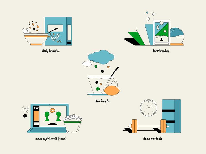 Home Activities icon set icons digital illustration home activities stayhome retrowave retro cute 2d art pastels colorful 2d affinitydesigner flat design vector illustration
