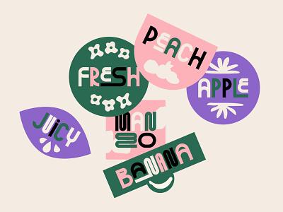 Fruit Stickers bespoke type bespoke retrowave retro sticker design stickers fruit sticker cute color pastels 2d colorful flat design vector illustration