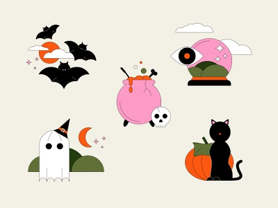 Spooky Season stickers affinitydesigner spooky season spooky halloween design halloween colorful 2d flat design vector illustration