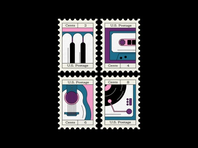 Music themed postage stamps vectober musical instrument music retrowave retro stamp design stamp affinitydesigner colorful flat 2d design vector illustration