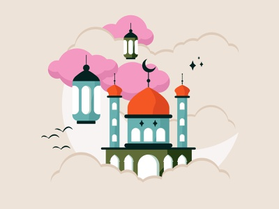 Ramadan Mubarak vector illustration eid mubarak ramadan mubarak ramadan kareem ramadan color minimal pastels 2d colorful flat illustration design vector