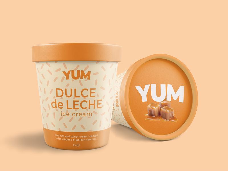 YUM icecream weeklywarmup packaging branding typography type logo lettering design
